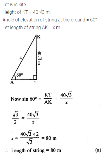 ML Aggarwal Class 10 Solutions for ICSE Maths Chapter 20 Heights and Distances MCQS Q3