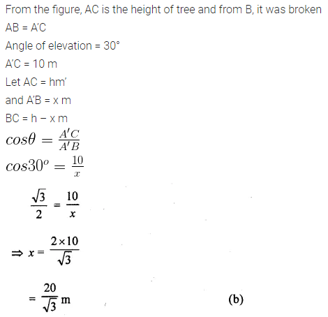 ML Aggarwal Class 10 Solutions for ICSE Maths Chapter 20 Heights and Distances MCQS Q4.1
