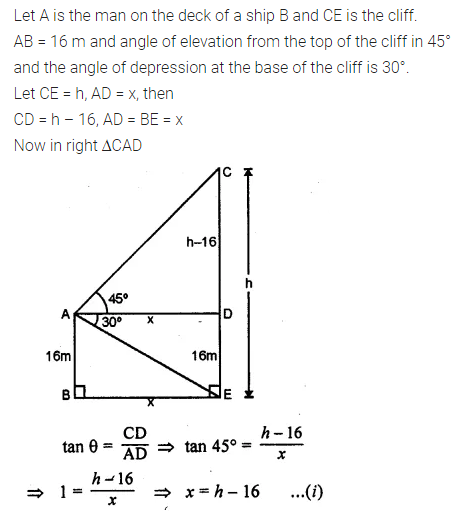 ML Aggarwal Class 10 Solutions for ICSE Maths Chapter 20 Heights and Distances Chapter Test Q8