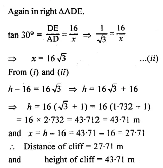 ML Aggarwal Class 10 Solutions for ICSE Maths Chapter 20 Heights and Distances Chapter Test Q8.1