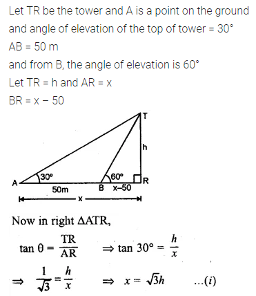 ML Aggarwal Class 10 Solutions for ICSE Maths Chapter 20 Heights and Distances Chapter Test Q1
