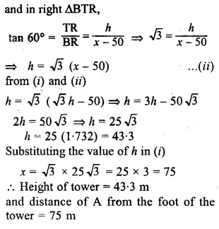 ML Aggarwal Class 10 Solutions for ICSE Maths Chapter 20 Heights and Distances Chapter Test Q1.1