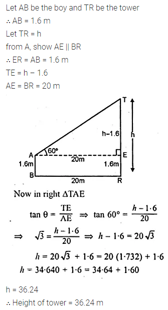 ML Aggarwal Class 10 Solutions for ICSE Maths Chapter 20 Heights and Distances Chapter Test Q4