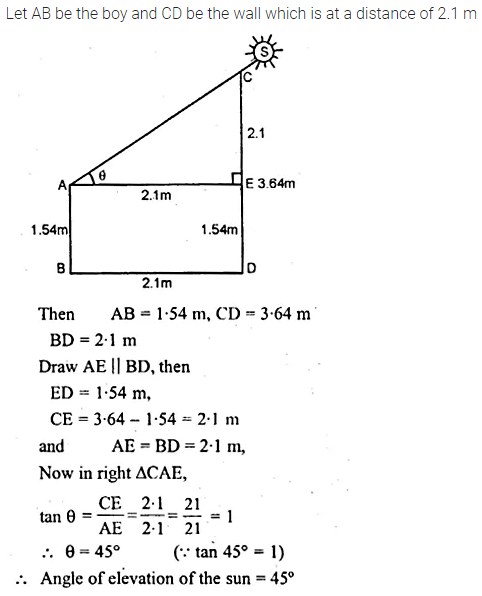 ML Aggarwal Class 10 Solutions for ICSE Maths Chapter 20 Heights and Distances Chapter Test Q5