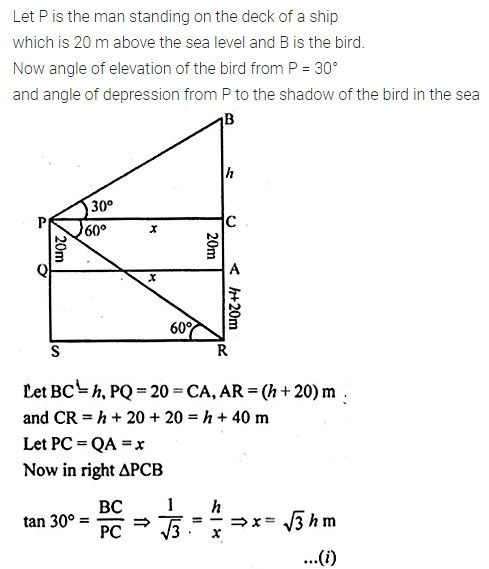 ML Aggarwal Class 10 Solutions for ICSE Maths Chapter 20 Heights and Distances Chapter Test Q10