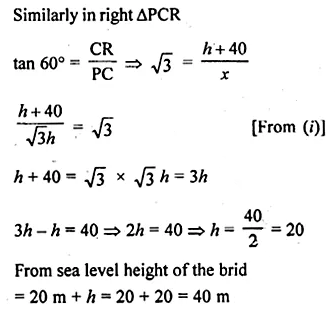 ML Aggarwal Class 10 Solutions for ICSE Maths Chapter 20 Heights and Distances Chapter Test Q10.1