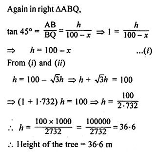 ML Aggarwal Class 10 Solutions for ICSE Maths Chapter 20 Heights and Distances Chapter Test Q9.1