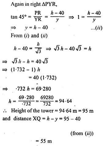 ML Aggarwal Class 10 Solutions for ICSE Maths Chapter 20 Heights and Distances Chapter Test Q6.2