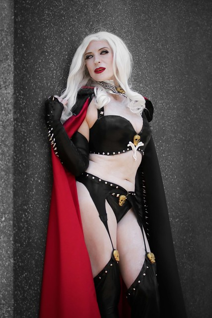 Lady Death cosplayer at ExCeL London's MCM Comic Con, May 2019