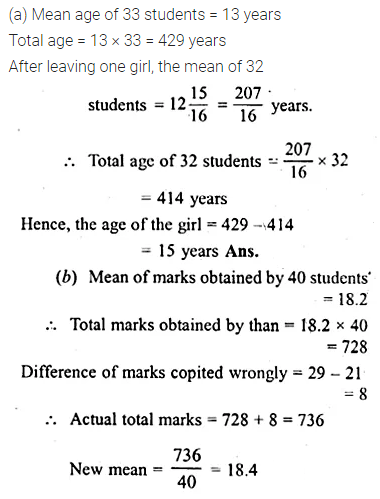 ML Aggarwal Class 10 Solutions for ICSE Maths Chapter 21 Measures of Central Tendency Ex 21.1 Q4