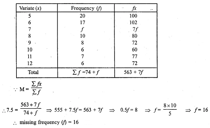 ML Aggarwal Class 10 Solutions for ICSE Maths Chapter 21 Measures of Central Tendency Ex 21.1 Q12.1