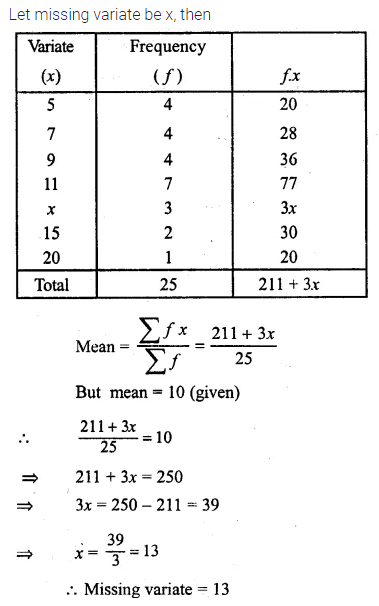 ML Aggarwal Class 10 Solutions for ICSE Maths Chapter 21 Measures of Central Tendency Ex 21.1 Q13.1