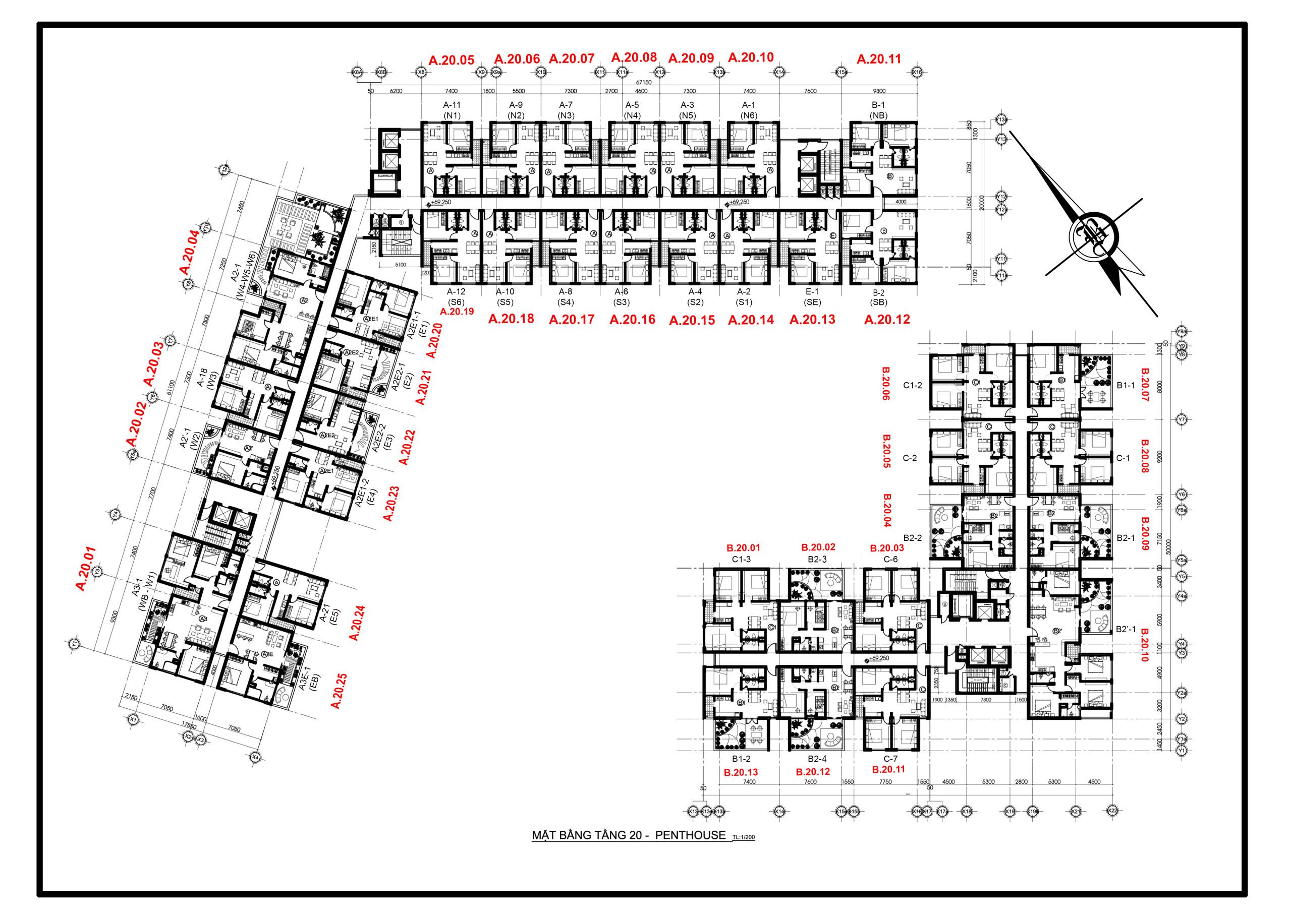 mặt bằng tầng 20 PentHouse CBD Quận 2