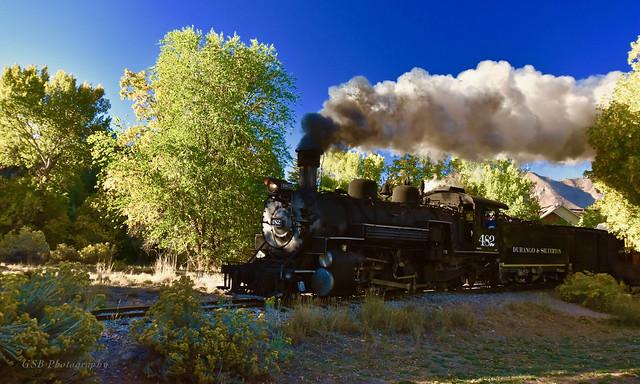 Durango & Silverton K-36 locomotive 482 emerging from 15th Street Bridge, Durango CO