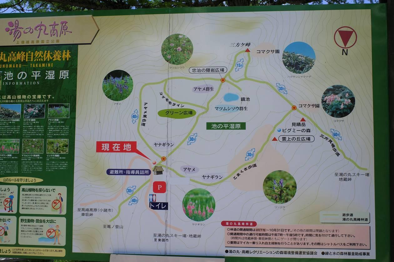 湯ノ丸高原・池ノ平湿原地図