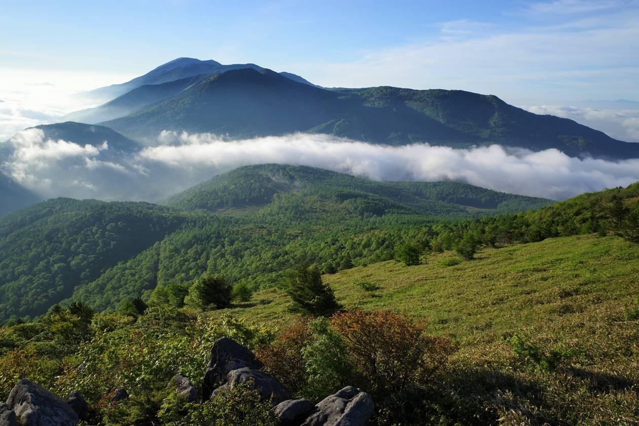 湯ノ丸山からの湯ノ丸高原と雲海の展望