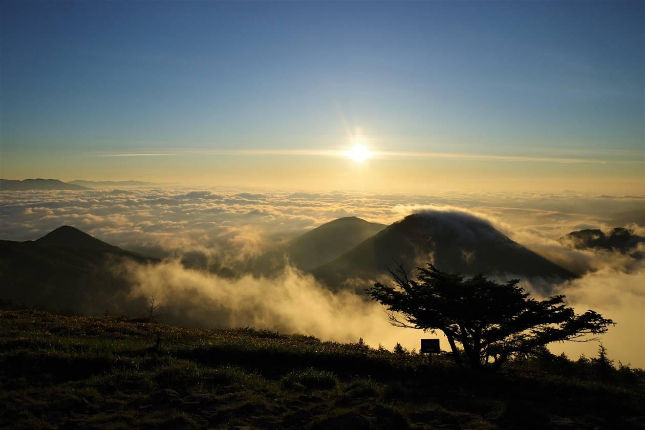 湯ノ丸山山頂からの朝日と雲海 ご来光登山