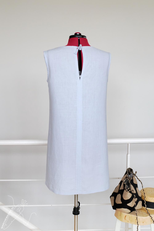 marchewkowa, Wrocław szyje, krawiectwo, wykroje, retro, Simplicity, sukienka, błękitny lek, koronka lniana, sewing, DIY, handmade, 1960s, linen shift dress, baby blue