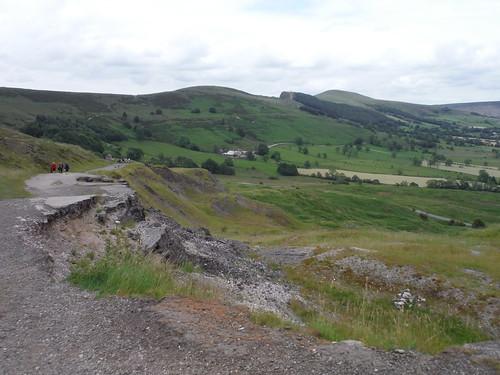 Road through Mam Tor Landslip Area, towards The Great Ridge SWC Walk 343 - Hope to Hathersage or Bamford (via Castleton)