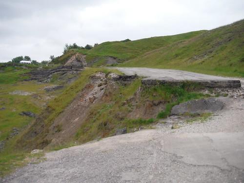 Road through Mam Tor Landslip Area SWC Walk 343 - Hope to Hathersage or Bamford (via Castleton)