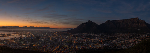 capetown westerncape southafrica before sunrise table mountain tafelberg tripod panorama