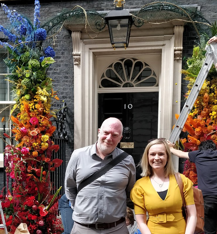 Paul and Natalie outside 10 Downing Street