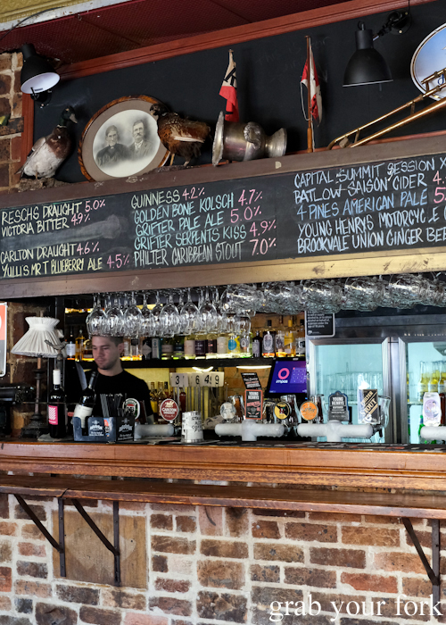 Beers on tap at The Old Fitzroy Hotel in Woolloomooloo Sydney