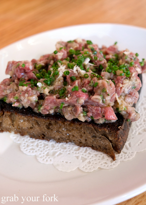 Raw beef on dripping toast at The Old Fitzroy Hotel in Woolloomooloo Sydney