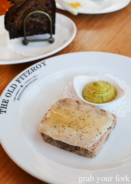 Chicken and lardo terrine at The Old Fitzroy Hotel in Woolloomooloo Sydney