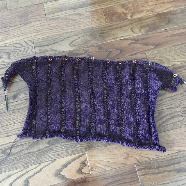 Progress on my Denis by Elizabeth Smith...this one doesn't photograph well before blocking!