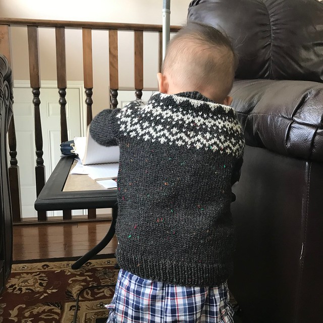 My grandson looks adorable in his Dog Star by tincanknits! I hope it will fit him this coming winter!!