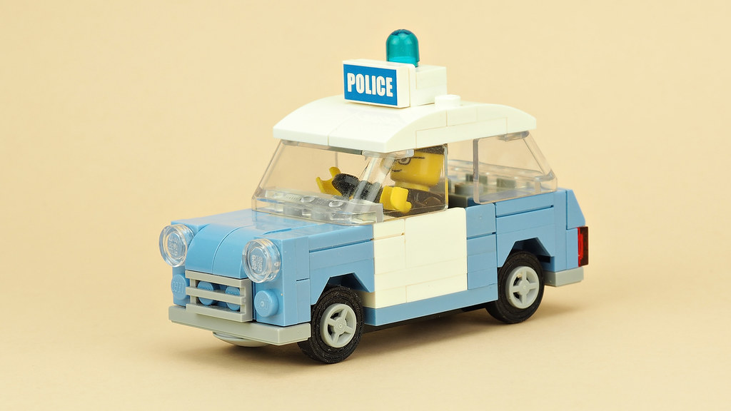 Old Mini Cooper Police Car (custom built Lego model)