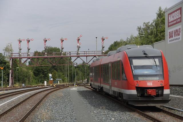 Alstom Coradia LINT 41 DB Regio 648 754  als RB 82 naar Kreiensen bij vertrek uit station Bad Harzburg 05-07-2019