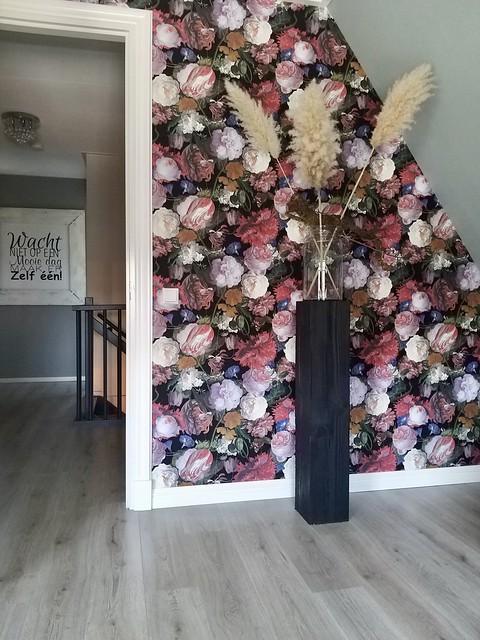 Behang met bloemen landelijke slaapkamer