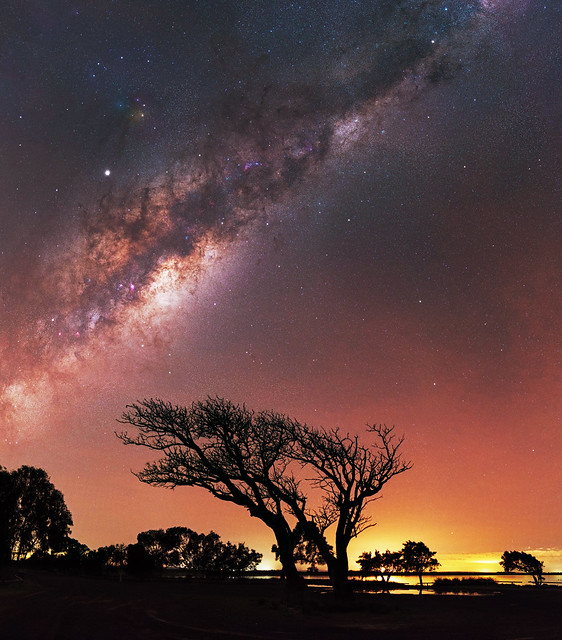 Milky Way rising above Herron Point, Western Australia