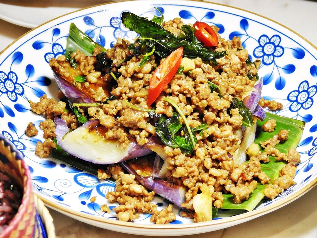 Grilled Eggplant With Spicy Minced Pork & Basil