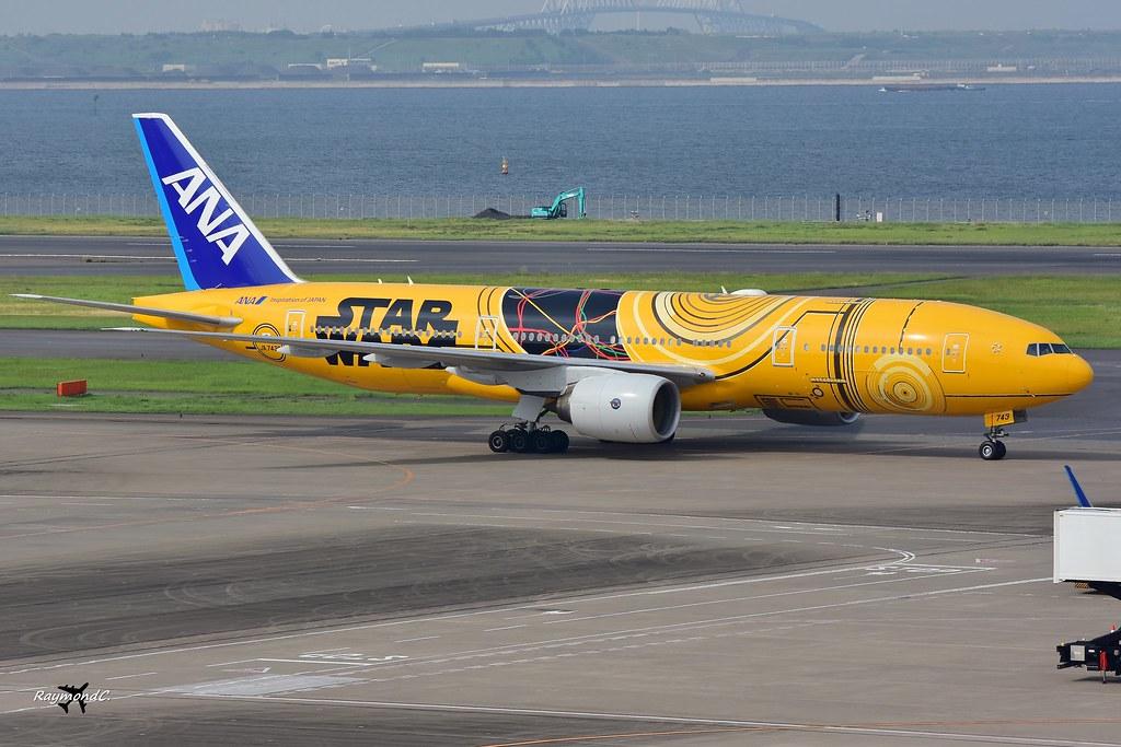 All Nippon Airways Boeing 777-281(ER) JA743A (Star Wars C-3PO Livery).