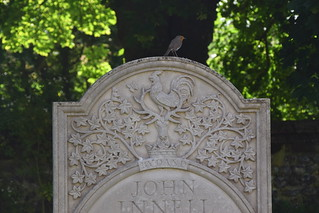 robin, cock and stag on the headstone of John Innell (1996)