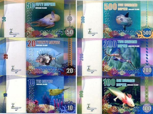 AVOCARE ISLAND SET 6 UNC 10 20 50 100 200 500b