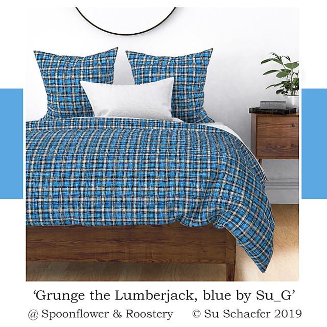 'Grunge the Lumberjack, blue by Su_G': bedding mockup