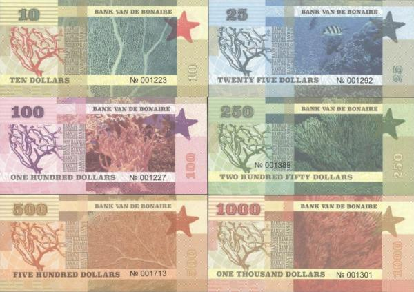 Bonaire 10-1.000 Dollars 2016