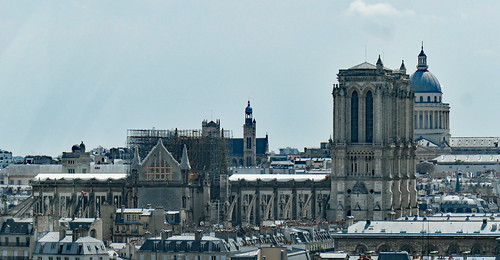 Notre Dame Cathedral, windows protected & scaffolding - seen from the Centre Pompidou - Explore!