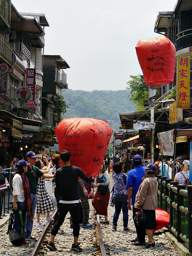 Releasing a red lantern in Pingxi, Taiwan