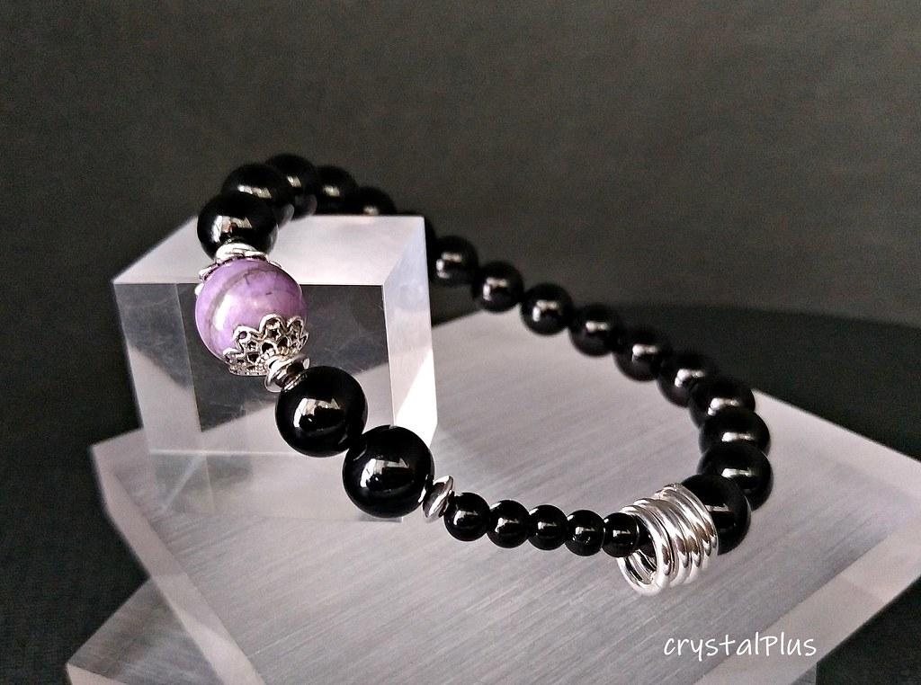 Self-improvement - Natural Black Tourmaline + Sakura Shu 徕 sterling silver  bracelet