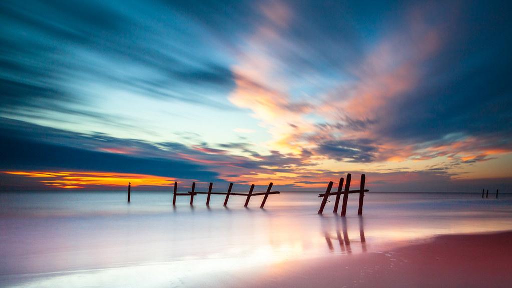 Dawn on Happisburgh Beach