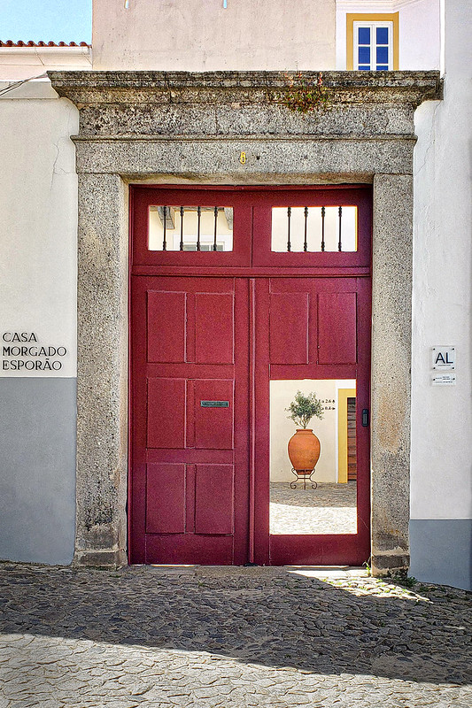 Red Door in Evora, Portugal