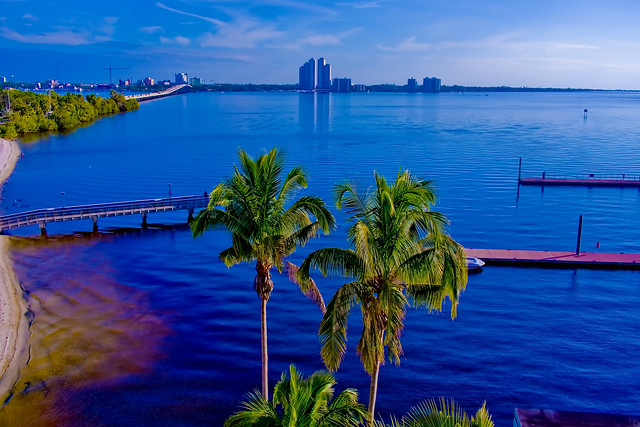 City of Fort Myers, Florida, USA along the banks of the Caloosahatchee River