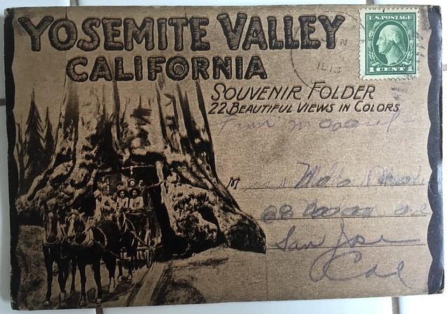 1913 postcard folder of Yosemite