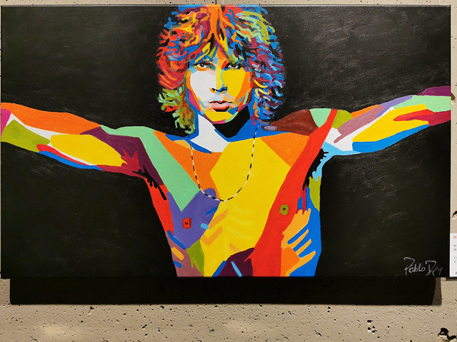Exposición Pinturas Pablo Roma Colours And Rock Roll Ambito Cultural El Corte Ingles Jim Morrison  The Doors Julio 2019