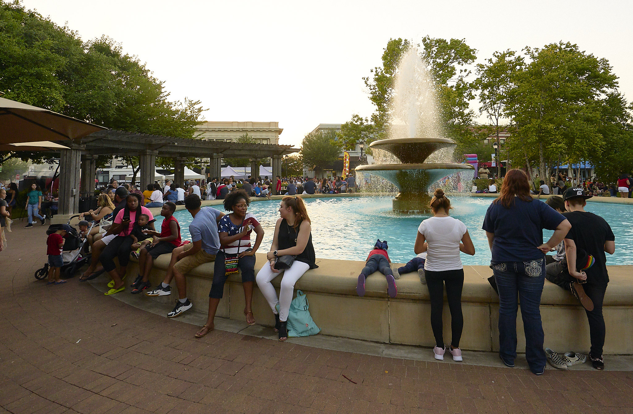 Crowd Around The Fountain